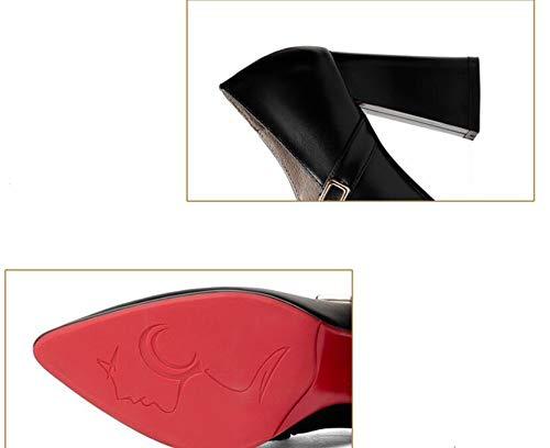Femmes Talons Hauts à épais Chaussures Chaussures Talons NOIR pour BFMEI à xZqz8wzY