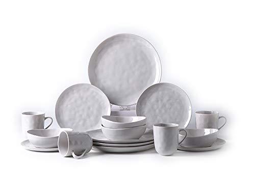 Pangu 16-Piece Dinnerware Set, MINIMALISM, Handmade Irregular Shape Look, Service for 4 (16 piece, Grey)