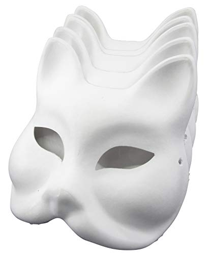 Yarizm Fox Mask White Paper Blank Hand Painted Face Mask (Pack of 5) ()