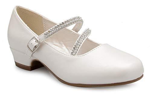 OLIVIA K Girls Kitten Heels Mary Jane Shoes - Round Toe with Rhinestone Enclosure Ivory