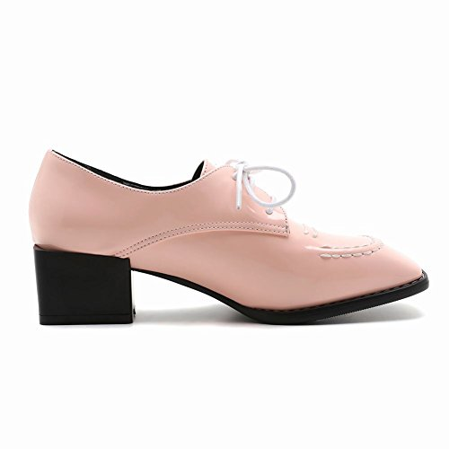 Womens Mid Shoes Toe Lace Foot Pink Chunky Causal Square Heel Charm Up vH8awaq
