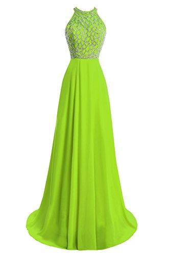 Skirt Dress Full Prom Chiffon (Dora Bridal Women's A-Line Floor Length Chiffon Beaded Prom Party Dress 2016 US18W Lime Green)