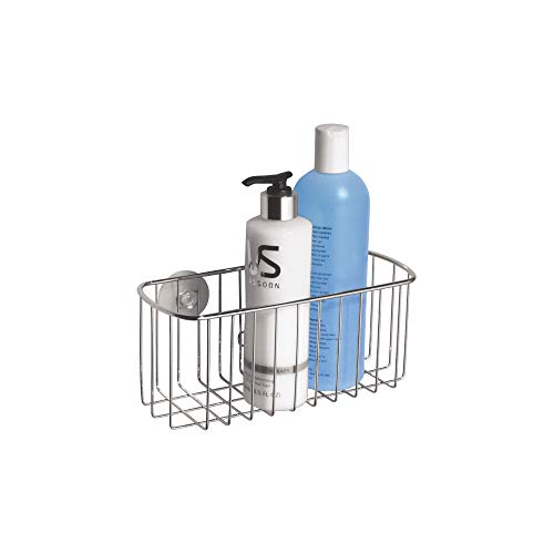 - iDesign Rondo Metal Wire Suction Bathroom Shower Caddy Rectangular Basket for Shampoo, Conditioner, Soap, Creams, Towels, Razors, Loofahs, 4