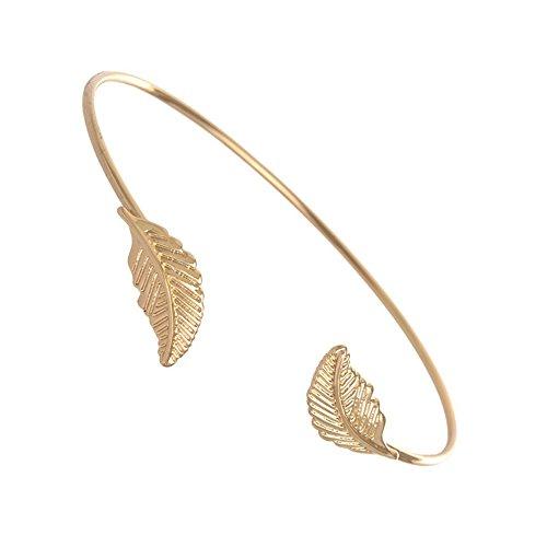 - MUZHE Creative Adjustable Double Leaf Open Bangle Gold Silver Couple Bracelet Valentine's Day Gifts (Gold)