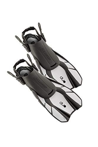 OCEAN REEF - Duo Fins - Fins for Snorkeling and Swimming - Maximum Comfort and Low Weight for Easy Packing and Traveling - White Color - Size L / XL