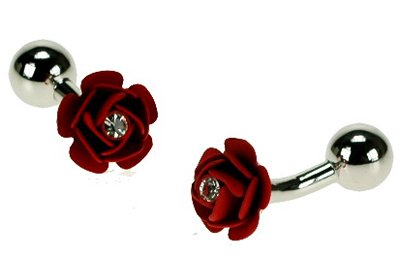Crystal Rose Florist (Retail Zone Crystal Decorated Flower Cufflinks With Gift Pouch Rose Florist Present)