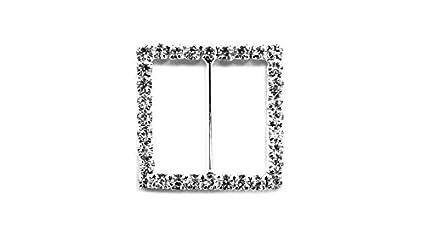 Diamante Rhinestone cuadrado cristal diamante hebilla Slider adornos