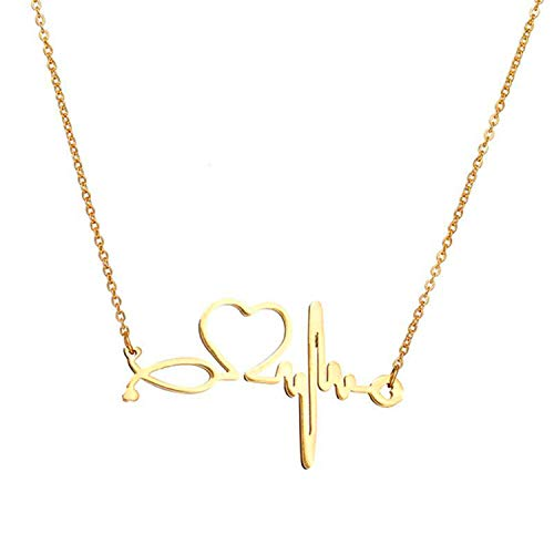 SXNK7 Stainless Steel Gold Heartbeat Cardiogram ECG Pendant Stethoscope Chokers Necklace