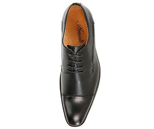 Amali Mens Chapeau Lisse Orteil Oxford Chaussure Robe Avec Un Style Décoratif Sitch Lorenzo Noir