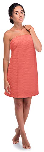 (Turkish Linen Women's Waffle Spa Body Wrap with Adjustable Closure (One Size, Coral))