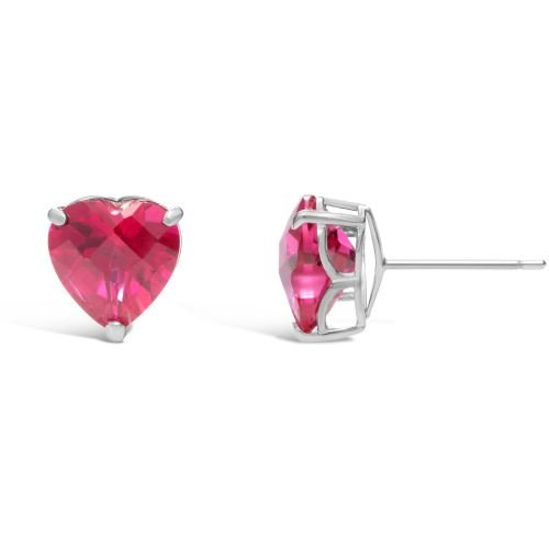 (3.60 cttw Heart 8MM Simulated Red Ruby 14k White Stud Earrings)