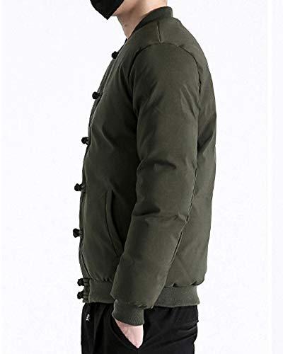 Rétro Debout Chaud Doudoune Chinois Style Armée Matelassée Manteau Col Veste Qitunc Vert Homme AwBq6wX