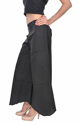 Jaipur Kala Kendra de las mujeres Plain Casual pantalones de Palazzo amplia tobillos pantalones negro