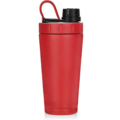 Homiguar Shaker Bottle, Insulated Stainless Steel Protein Shaker Bottle, Keeps Cold Hot, Double Walled Water Bottle Shaker Cup, Screw-top, Leak Proof, 20-Ounce, BPA Free - Red