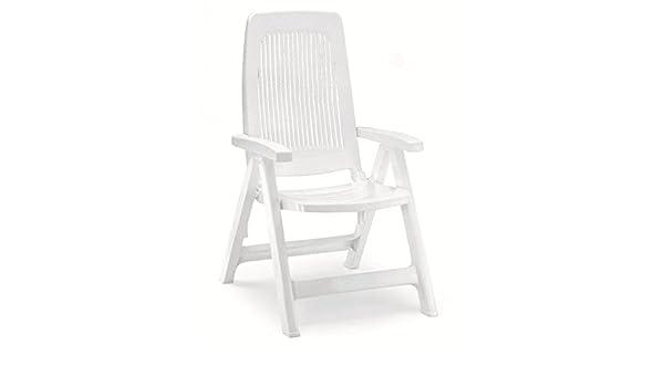 Dos sillones en resina blanca, sillones respaldo alto de exterior, sillón de plástico ajustable: Amazon.es: Hogar