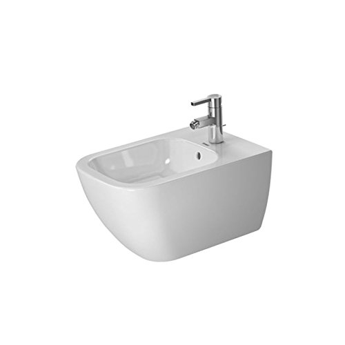 Tap Platform - Happy D.2 Bidet wall mounted with overflow, with tap platform, overflow clip chrome included, Durafix included, 14
