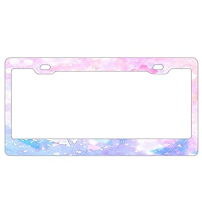 "YEX Abstract Pink Floral Butterfly License Plate Frame Car License Plate Covers Auto Tag Holder 6"" x 12"""