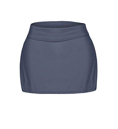 MYQueen Women's Grey Skirted Swim Bikini Bottom (Quirky Fancy Dress Ideas)