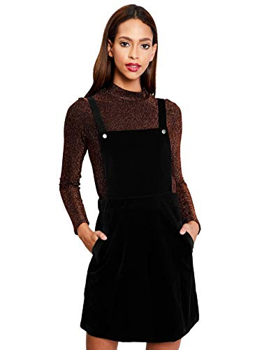 - Romwe Women's Straps A-line Corduroy Pinafore Bib Pocket Overall Dress Black# M