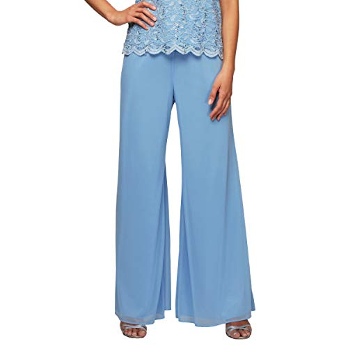 - Alex Evenings Women's Asymmetric Chiffon Blouse and Dress Pants (Petite Regular), Antique Blue, XL