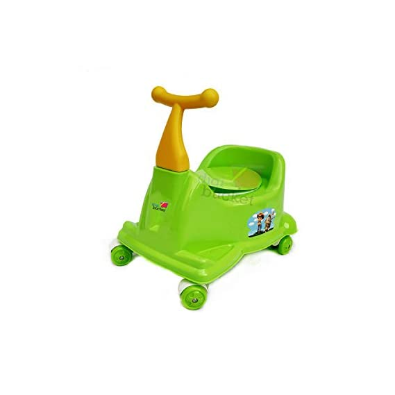 DIGI BUCKET Scooter Style Baby Potty Seat with Wheel and Removable Tray for Kids | Available Wheel | Blue Color Scooter