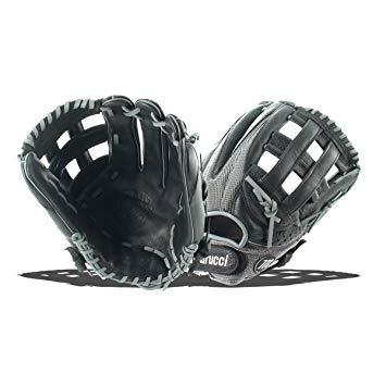 Marucci MFGGXM12H-GY/BK-RG Geaux Mesh Series Baseball Fielding Gloves, Gray/Black, 12