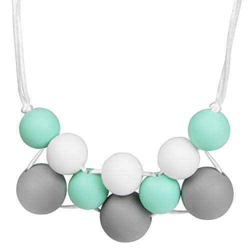 Baby Silicone Teething Necklace for Mom: Chewable Nursing Teether Jewelry Moms to Wear Babies to Chew - Soft BPA Free Silicone Chewing Beads Nylon String - White, Mint Gray