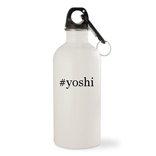 Black Yoshi Costume (#yoshi - White Hashtag 20oz Stainless Steel Water Bottle with Carabiner)