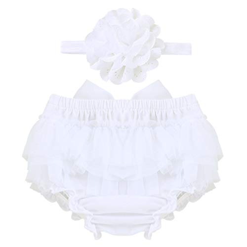 ACSUSS Newborn Baby Girls Photo Shoot Props Ruffled Cake Smash Bloomer with Headband Outfits White 6-9 Months