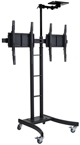 """Displays2go Dual Double TV Stand for 24-70"""" HDTVs, Portable Cart with Locking Wheels, Camera Shelf for Conference"""