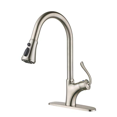HOMELODY Handle Kitchen 3 Functions Sprayer, High Arc Single Lever Laundry, Brushed Nickel K123BN Pull Out Sink Faucet, Nickel-123 ()