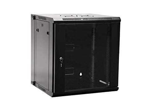 12U Professional Wall Mount Server Cabinet Enclosure Double Section Hinged Swing Out 19-Inch Server Network Rack with Locking Glass Door Black (Fully Assembled) ()