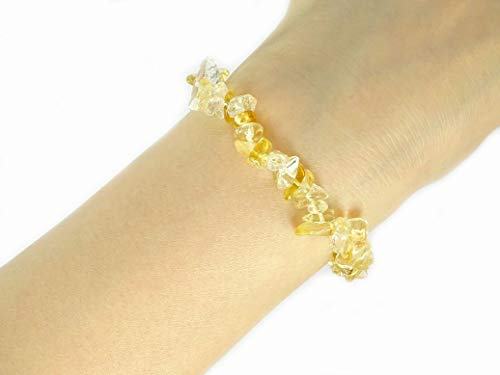 jennysun2010 Natural Citrine Gemstone 5-8mm Freeformed Chip Beads Stretchy Bracelet Healing Reiki Chakra -