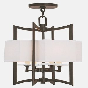 Woodland Wall Fixture - Livex Lighting 50703-67 Woodland Park 4-Light Foyer Chandelier, Olde Bronze