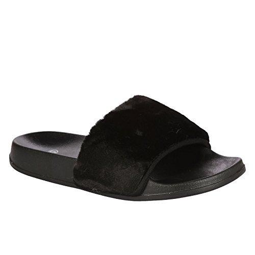 Sandales à noires en en caoutchouc femme Chaussures enfiler BOUTIQUE FANTASIA Mules pour ® fourrure Farrah Chaussures fausse TqtO8axRw