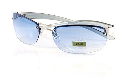 (FBL Semi-Rimless Clear Smoke Tinted Eyeglasses Wrap Sunglasses A216 (Silver Blue))