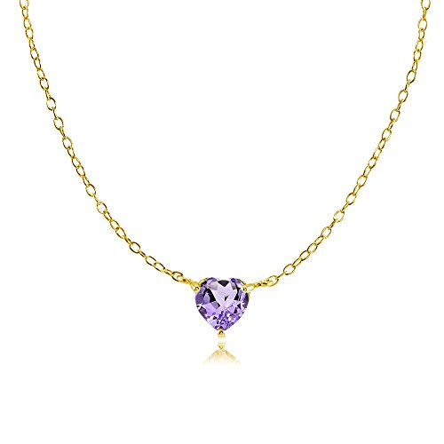 Heart Chain Amethyst (Yellow Gold Flashed Sterling Silver Small Dainty Amethyst Heart Choker Necklace)