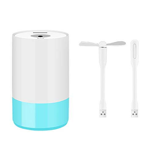 (GXOK 3 In1 Humidifier USB Fan LED Humidifier- Car Mini USB Humidifier- Essential Oil Diffuser Aroma Essential Oil Cool Mist Humidifier for Home Office Baby-320ML (Blue))