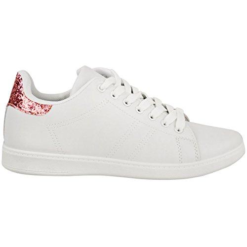 Fashion Assoiffé Femmes Plat Paillettes Lace Up Sneakers Plimpsolls Baskets Chaussures Taille Blanc Faux Cuir / Rose Paillettes