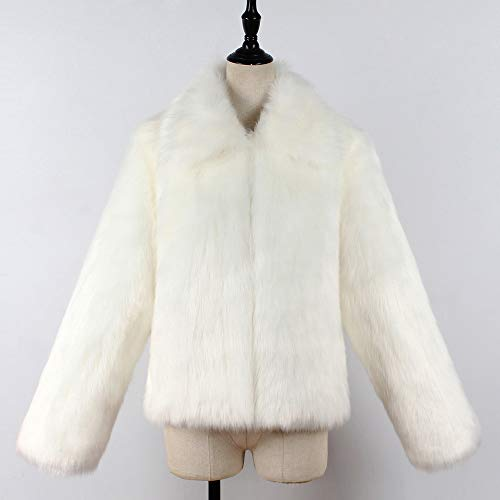 Coat Warm Lapel Hairy Winter Holywin Faux Overcoat White Fur Womens Coat Collar Jacket 6qwSXZ