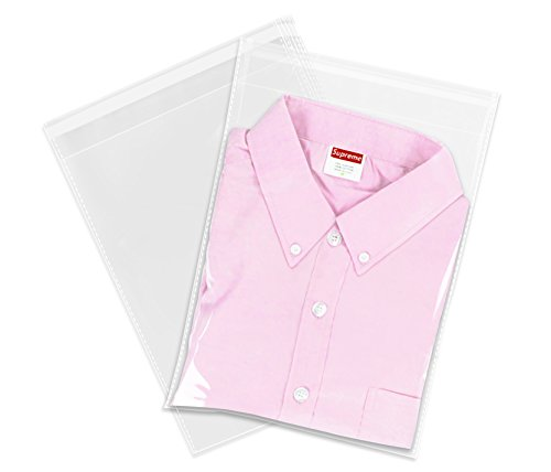 "100 Count - 12"" X 15"" Self Seal Clear Cello Cellophane Resealable Plastic Poly Bags - Perfect for Packaging Clothing, Shirts (More Sizes Available)"