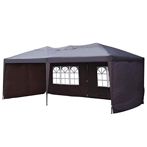 Outsunny Easy Pop Up Canopy Party Tent, Coffee Brown for sale  Delivered anywhere in USA