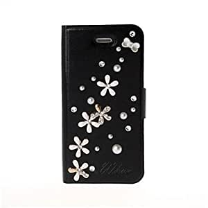 DIY 3D Crystal Luck Flowers Full Body Leather Case with Stand for iPhone 5/5S , White