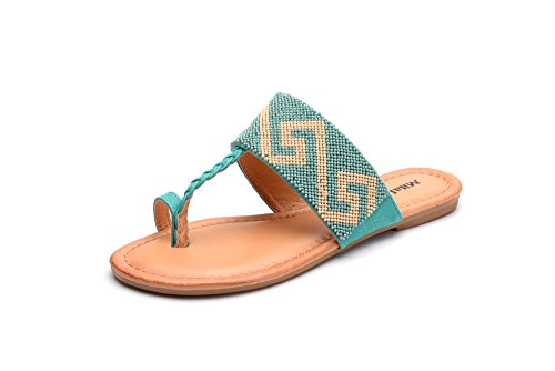 Mila Lady Amy-10 Tribal Beaded Indian Accent Toe Ring Flat Sandal Green 5.5