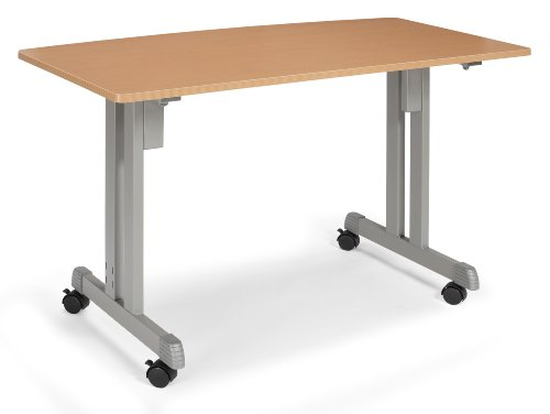 : OFM 55111-MPL Multiuse Table Maple with Silver Frame, 24 by 48-Inch - Casters Not Included by OFM