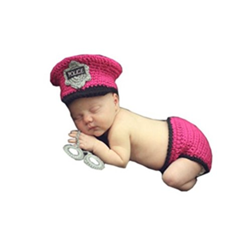 (Ufraky Baby Photography Prop Crochet Knit Policeman Hat Diaper Costume Outfit)