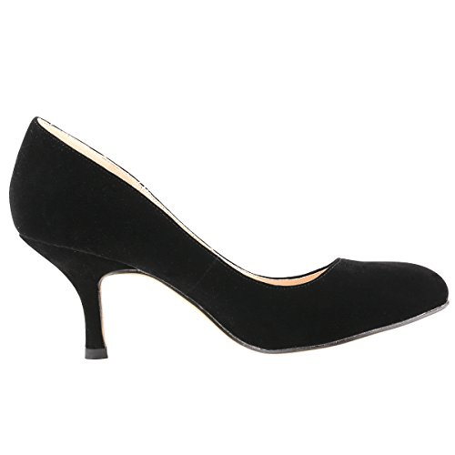 Pumps Toe Zbeibei Leather black Round Heels Court Mid VE Slender Work Women's zn6HnB