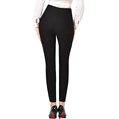 Ginasy Dress Pants for Women Stretch Pull-on Pants Ease into Comfort Office Ponte Pants at Women's Clothing store