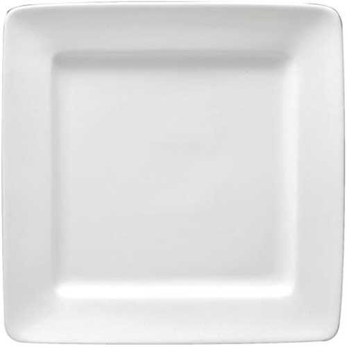 Plate Dinnerware Oneida Undecorated (Buffalo Bright White Ware Square Rolled Edge Plate, 10 1/4 inch - 12 per case.)
