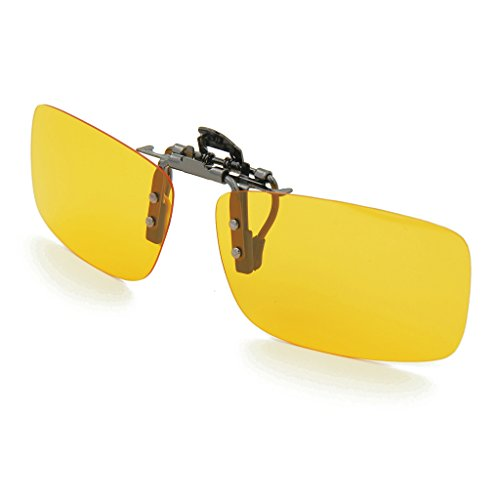 Besgoods Yellow Night Vision Polarized Clip-on Flip up Metal Clip Sunglasses Driving (Sight Contact Lenses)